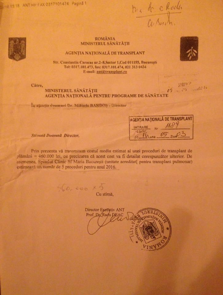 ANT confirmă solicitarea lui Narcis Copca, 460 de mii de lei/ transplant
